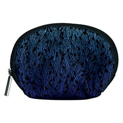 Blue Ombre feather pattern, black, Accessory Pouch (Medium)