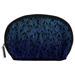Blue Ombre feather pattern, black, Accessory Pouch (Large)