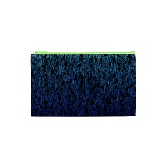 Blue Ombre feather pattern, black, Cosmetic Bag (XS)