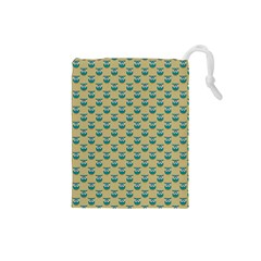 Small Teal Owls On Ecru Drawstring Pouches (Small)