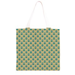 Small Teal Owls On Ecru Grocery Light Tote Bag