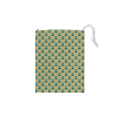 Small Teal Owls On Ecru Drawstring Pouches (XS)