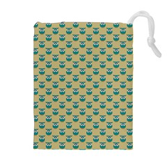 Small Teal Owls On Ecru Drawstring Pouches (Extra Large)