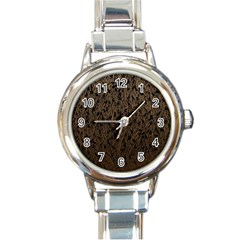 Brown Ombre feather pattern, black, Round Italian Charm Watch