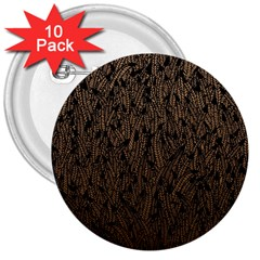 Brown Ombre feather pattern, black, 3  Button (10 pack)