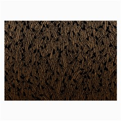 Brown Ombre feather pattern, black, Large Glasses Cloth