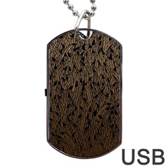 Brown Ombre feather pattern, black, Dog Tag USB Flash (Two Sides)