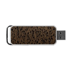 Brown Ombre feather pattern, black, Portable USB Flash (One Side)