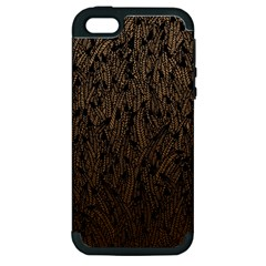 Brown Ombre feather pattern, black, Apple iPhone 5 Hardshell Case (PC+Silicone)