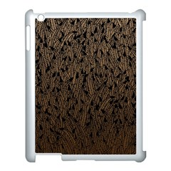 Brown Ombre feather pattern, black, Apple iPad 3/4 Case (White)