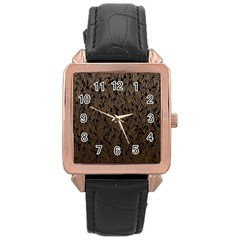 Brown Ombre feather pattern, black, Rose Gold Leather Watch