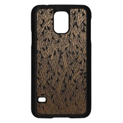 Brown Ombre feather pattern, black, Samsung Galaxy S5 Case (Black)