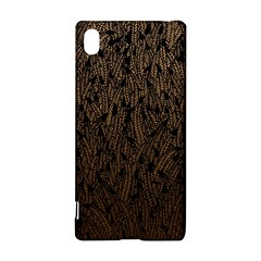 Brown Ombre feather pattern, black, Sony Xperia Z3+ Hardshell Case
