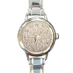 Brown Ombre feather pattern, white, Round Italian Charm Watch