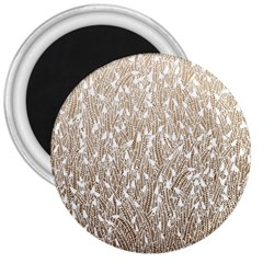 Brown Ombre Feather Pattern, White, 3  Magnet