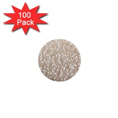 Brown Ombre feather pattern, white, 1  Mini Button (100 pack)