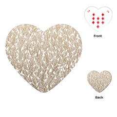 Brown Ombre feather pattern, white, Playing Cards (Heart)