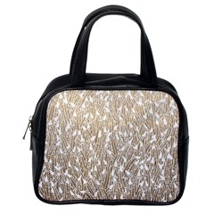 Brown Ombre feather pattern, white, Classic Handbag (One Side)