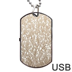 Brown Ombre feather pattern, white, Dog Tag USB Flash (Two Sides)