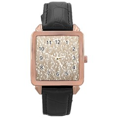 Brown Ombre feather pattern, white, Rose Gold Leather Watch