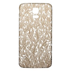 Brown Ombre feather pattern, white, Samsung Galaxy S5 Back Case (White)