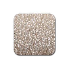 Brown Ombre feather pattern, white, Rubber Square Coaster (4 pack)