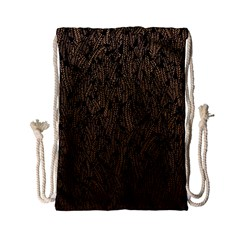 Brown Ombre feather pattern, black, Drawstring Bag (Small)