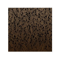 Brown Ombre feather pattern, black, Small Satin Scarf (Square)