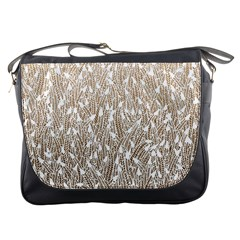 Brown Ombre feather pattern, white, Messenger Bag