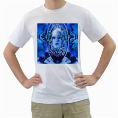 Clockwork Blue Men s T-Shirt (White)