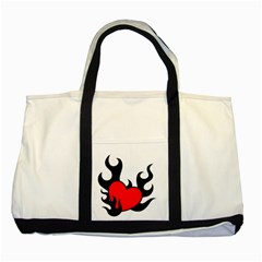 Black And Red Flaming Heart Two Tone Tote Bag
