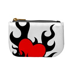 Black And Red Flaming Heart Mini Coin Purses