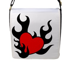 Black And Red Flaming Heart Flap Messenger Bag (L)