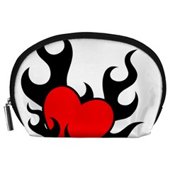 Black And Red Flaming Heart Accessory Pouches (Large)