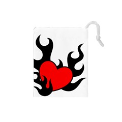 Black And Red Flaming Heart Drawstring Pouches (Small)