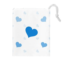 Blue Hearts Drawstring Pouches (Extra Large)