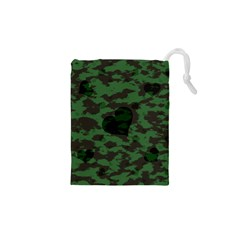 Green Camo Hearts Drawstring Pouches (XS)