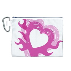 Hot Pink Love Canvas Cosmetic Bag (L)