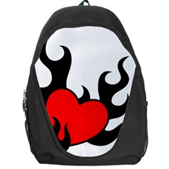 Black And Red Flaming Heart Backpack Bag
