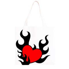 Black And Red Flaming Heart Grocery Light Tote Bag