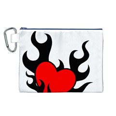 Black And Red Flaming Heart Canvas Cosmetic Bag (L)