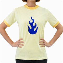 Blue Flames Women s Fitted Ringer T Shirts