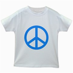 Blue Peace Kids White T-Shirts
