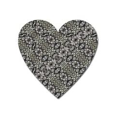 Silver Oriental Ornate  Heart Magnet