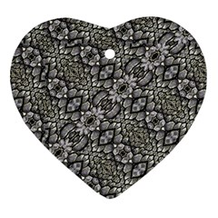 Silver Oriental Ornate  Heart Ornament (2 Sides)