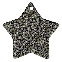 Silver Oriental Ornate  Star Ornament (Two Sides)