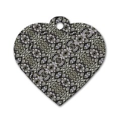 Silver Oriental Ornate  Dog Tag Heart (Two Sides)