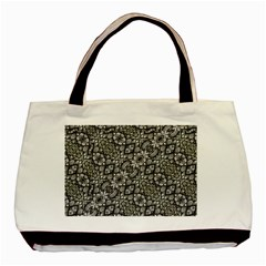 Silver Oriental Ornate  Basic Tote Bag (Two Sides)