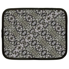 Silver Oriental Ornate  Netbook Case (Large)