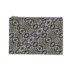 Silver Oriental Ornate  Cosmetic Bag (Large)